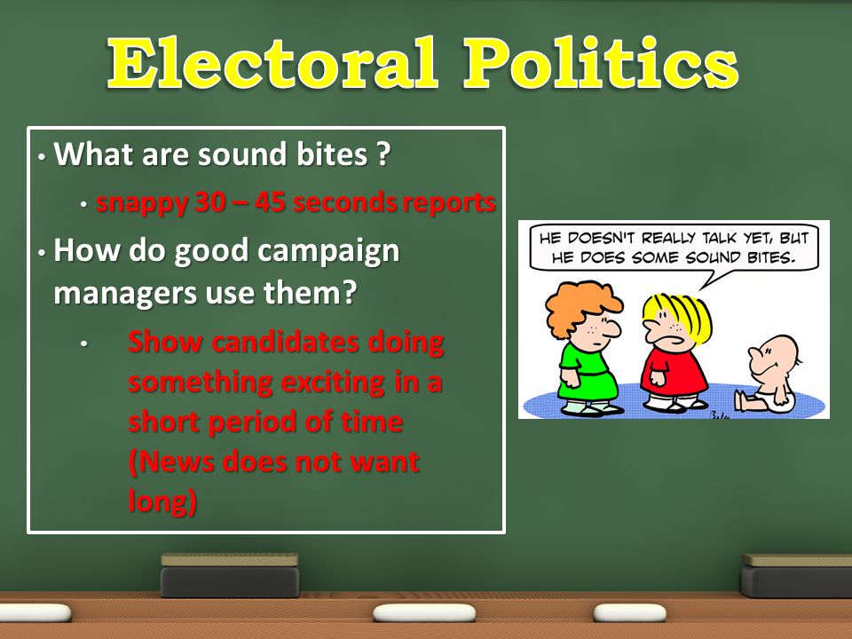 Electoral Politics What are sound bites