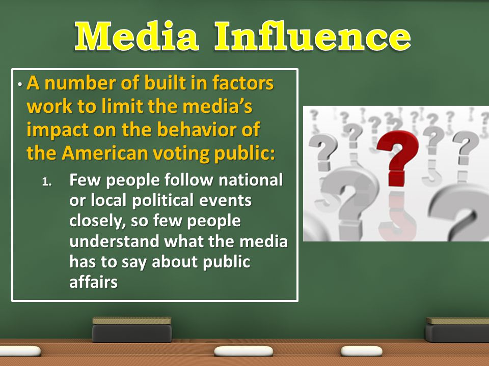 Media Influence A number of built in factors work to limit the media's impact on the behavior of the American voting public: