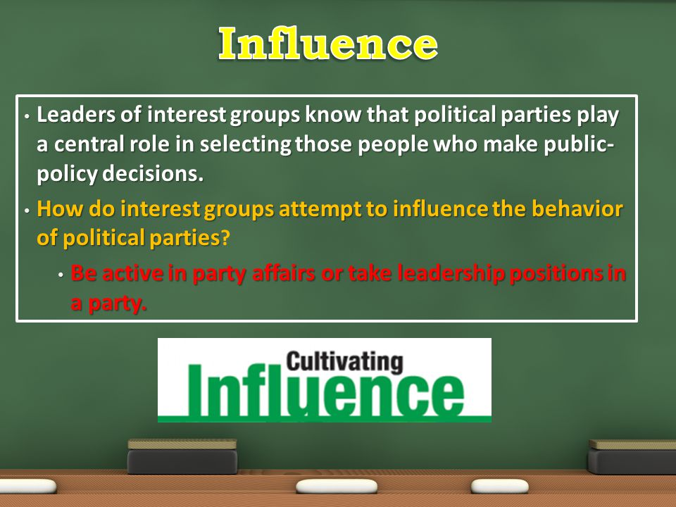 Influence Leaders of interest groups know that political parties play a central role in selecting those people who make public-policy decisions.
