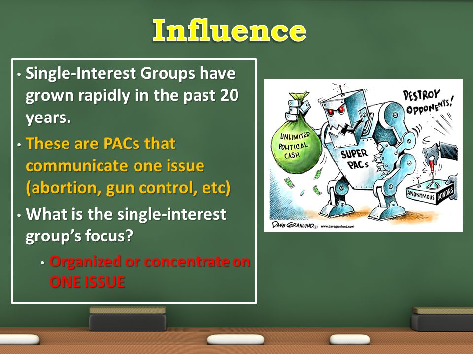 Influence Single-Interest Groups have grown rapidly in the past 20 years. These are PACs that communicate one issue (abortion, gun control, etc)