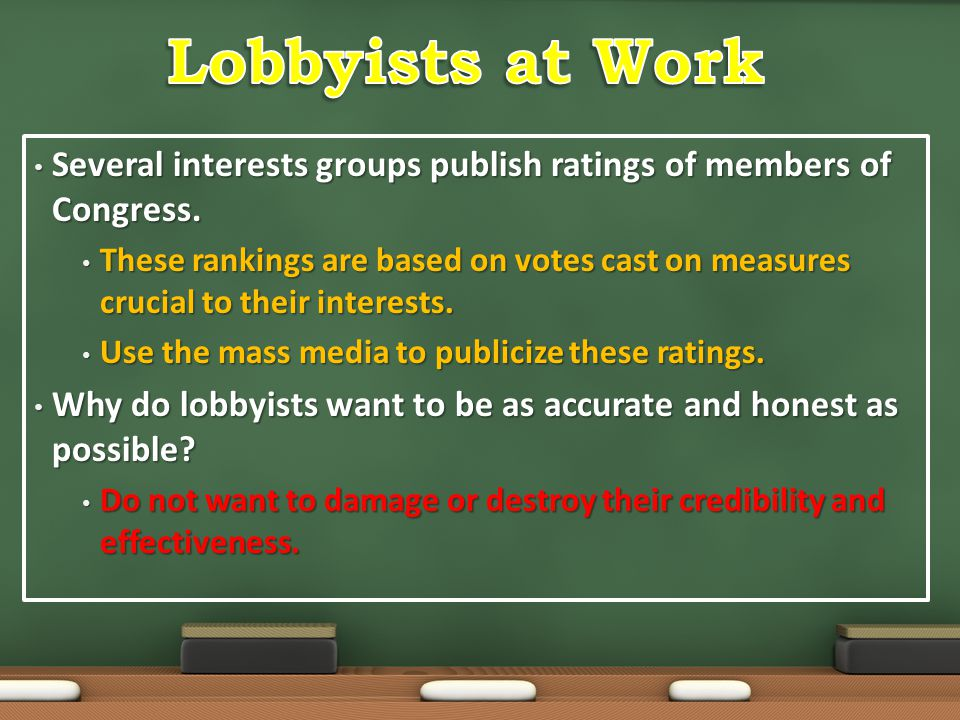 Lobbyists at Work Several interests groups publish ratings of members of Congress.