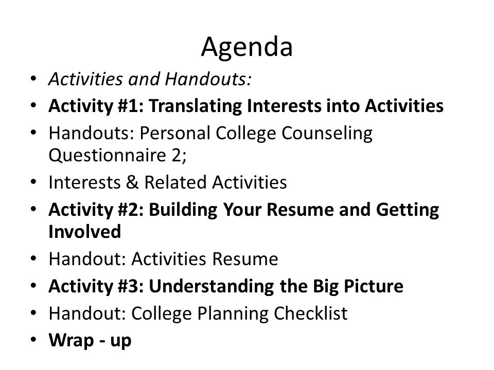 Agenda Activities and Handouts: