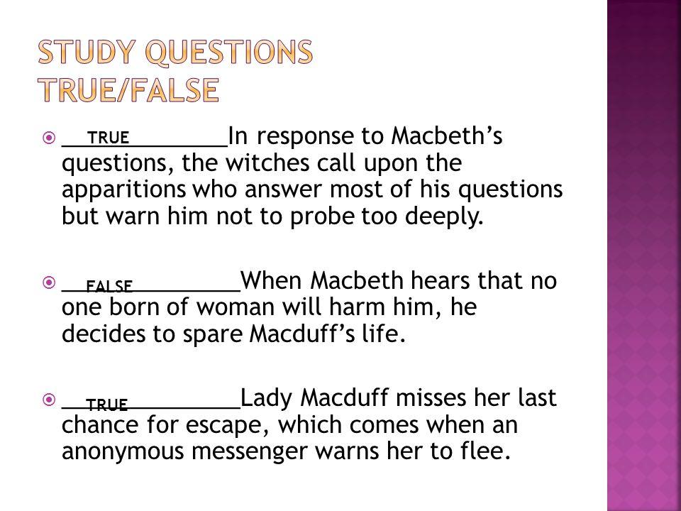 Study questions true/false