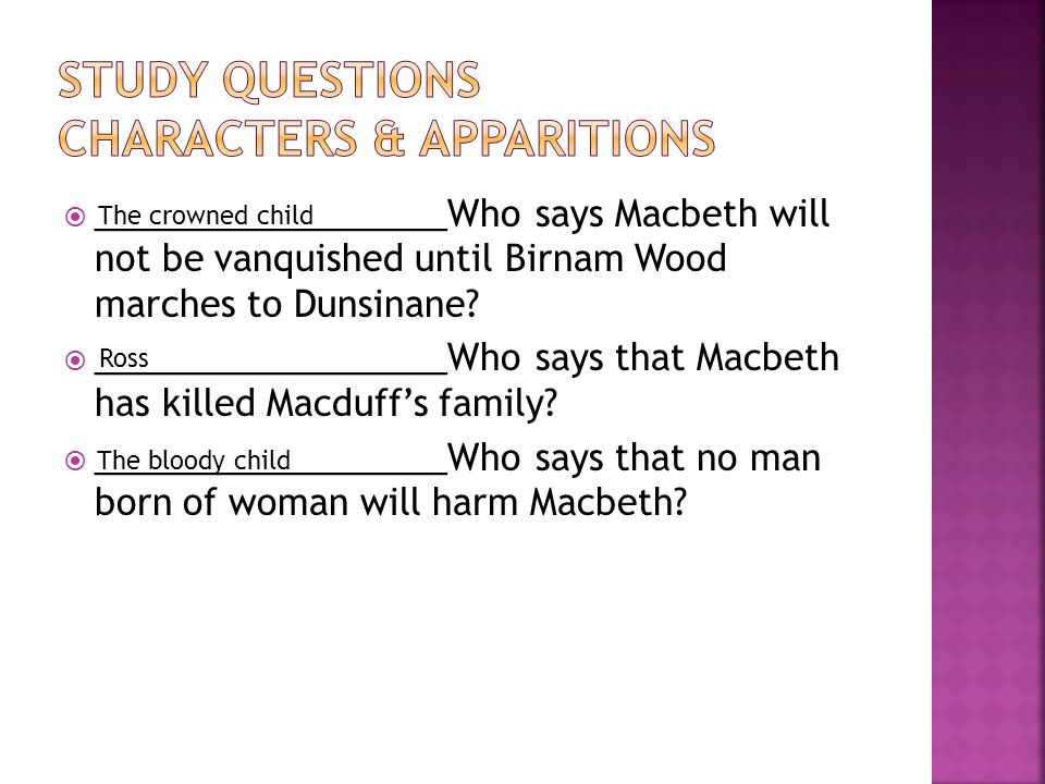 Study questions characters & apparitions
