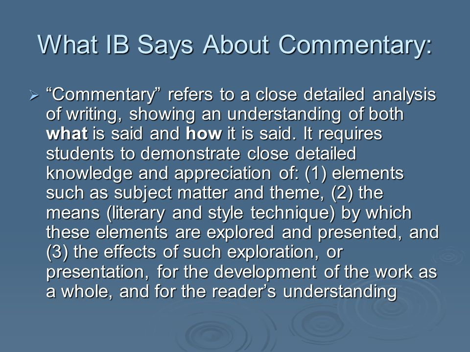 What IB Says About Commentary: