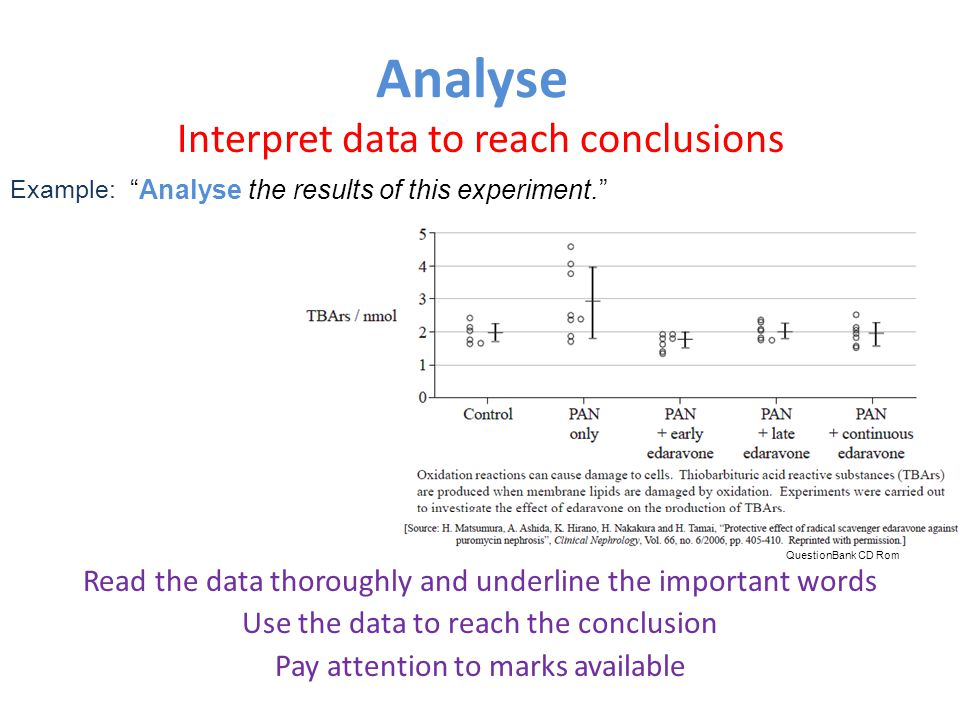 Analyse Interpret data to reach conclusions