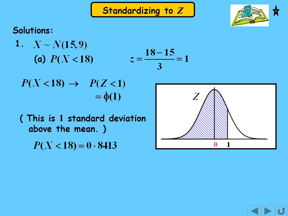Solutions: (a) 1. ( This is 1 standard deviation above the mean. )