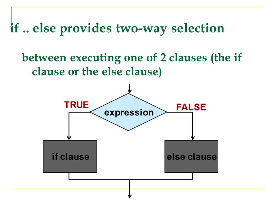 if .. else provides two-way selection