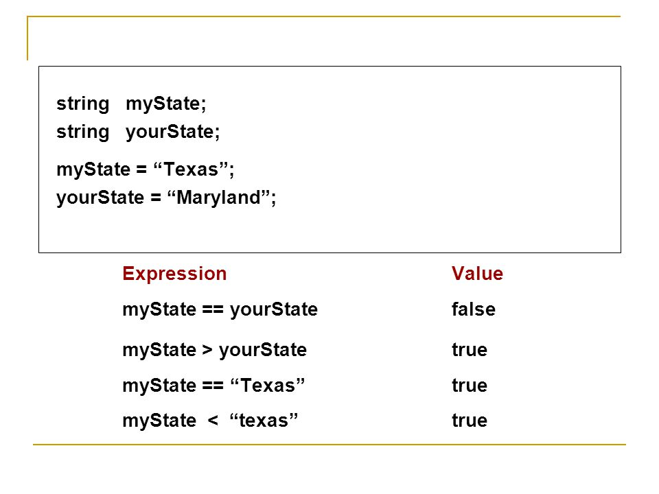 myState > yourState true