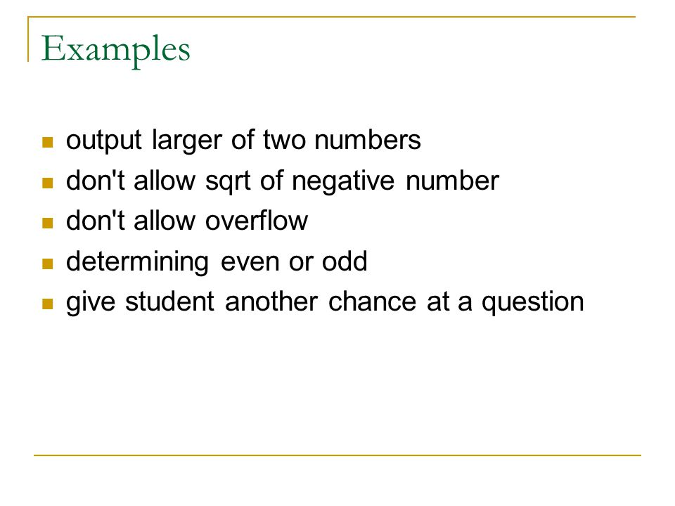 Examples output larger of two numbers