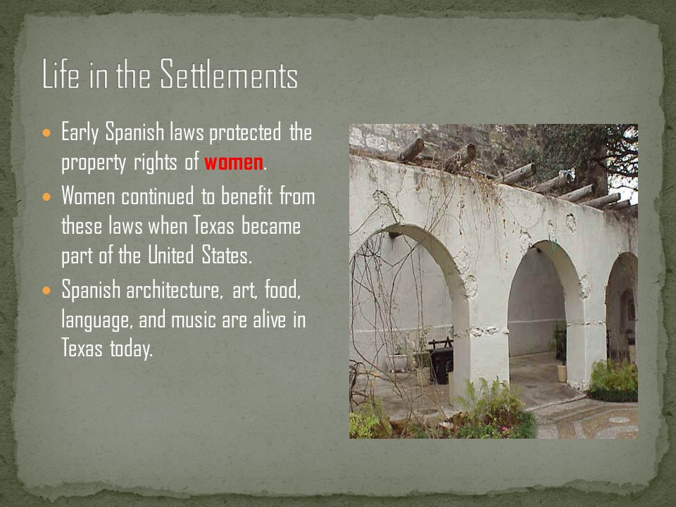 Life in the Settlements