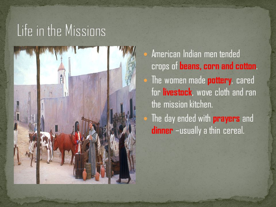 Life in the Missions American Indian men tended crops of beans, corn and cotton.