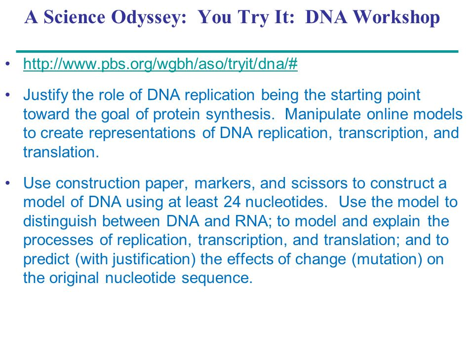 A Science Odyssey: You Try It: DNA Workshop
