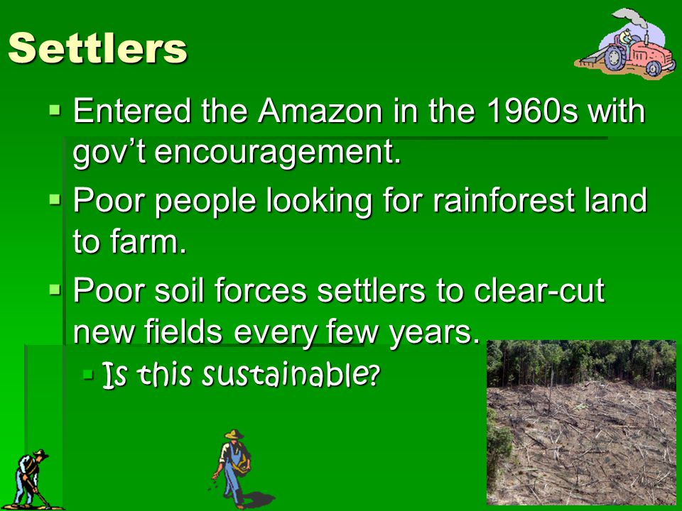 Settlers Entered the Amazon in the 1960s with gov't encouragement.