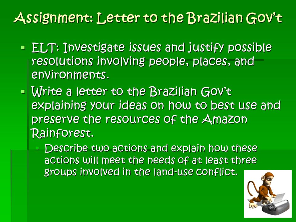 Assignment: Letter to the Brazilian Gov't