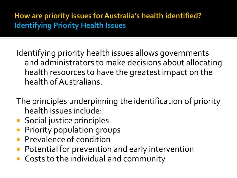 Social justice principles Priority population groups