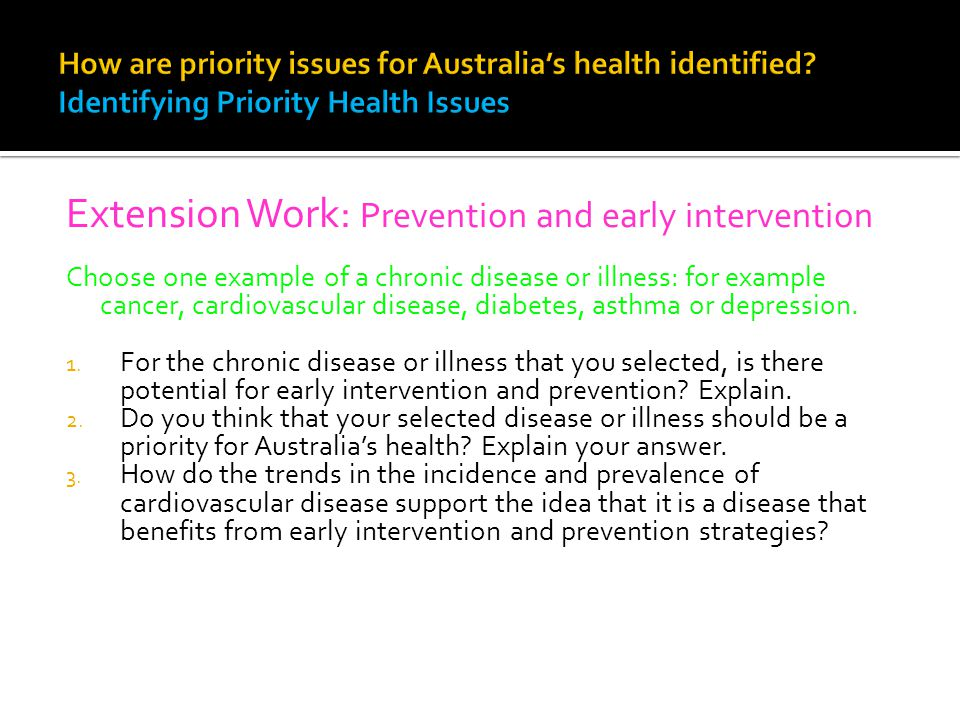 Extension Work: Prevention and early intervention