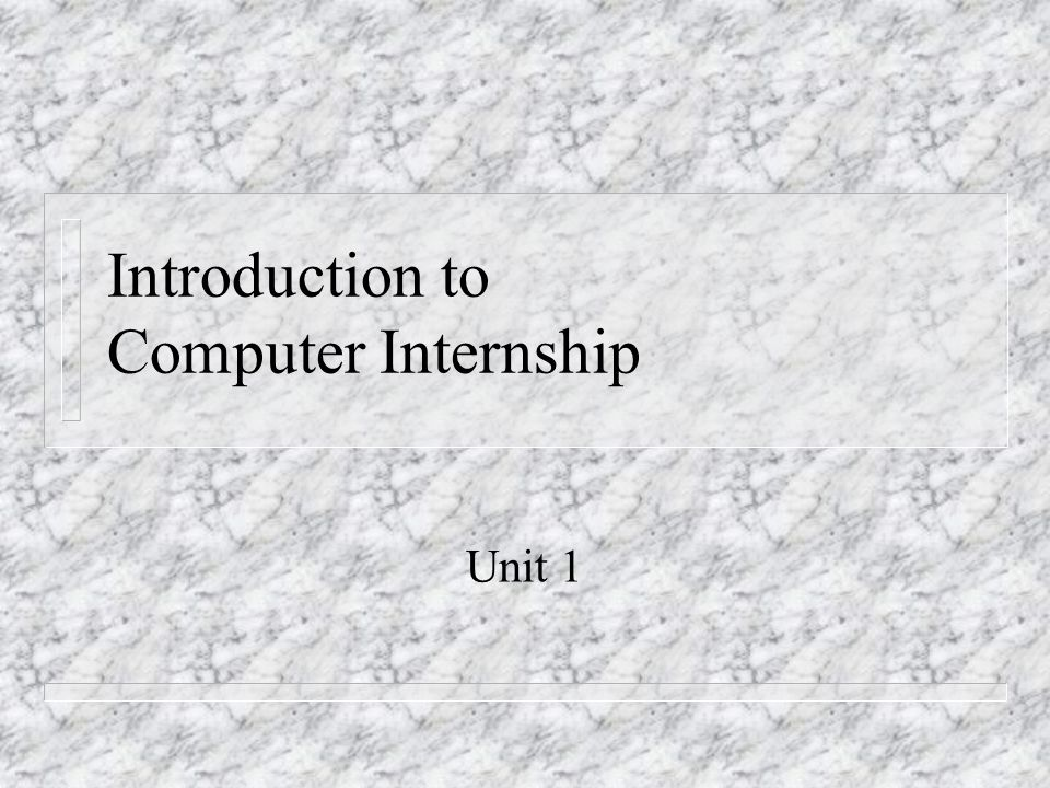 Introduction to Computer Internship