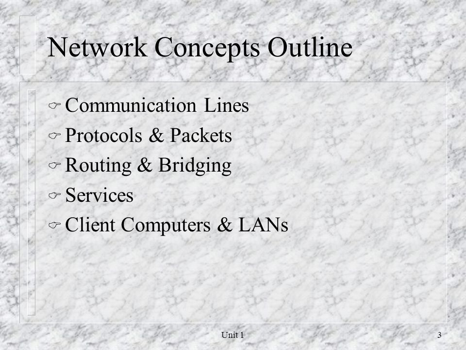 Network Concepts Outline