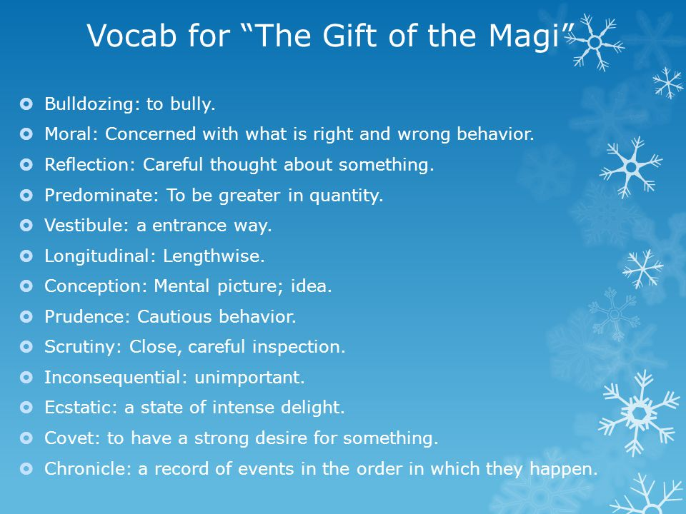 Vocab for The Gift of the Magi