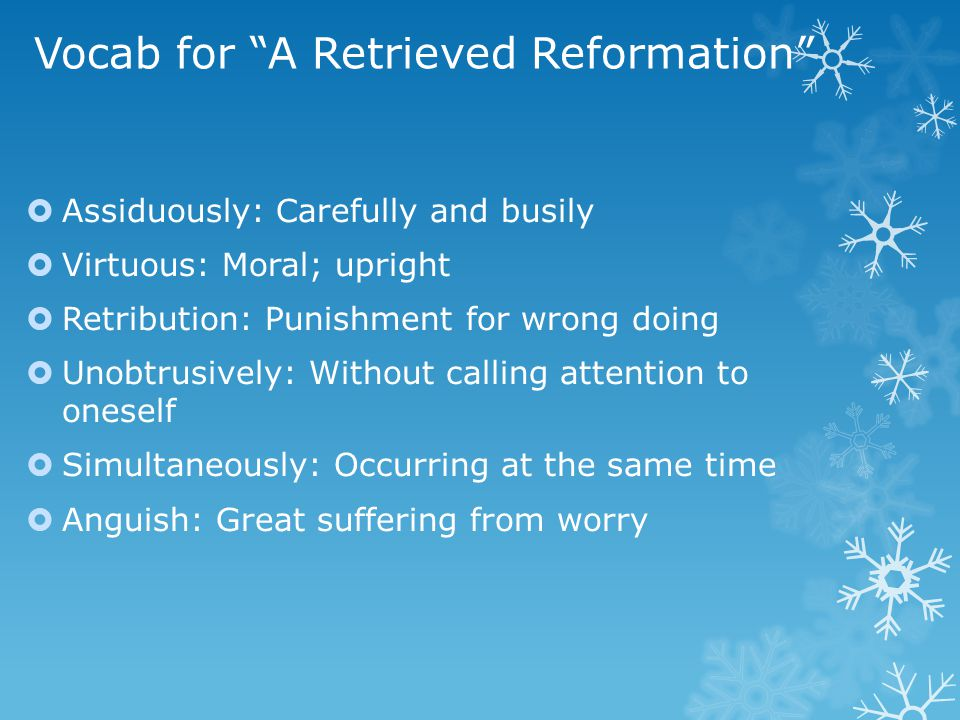 Vocab for A Retrieved Reformation