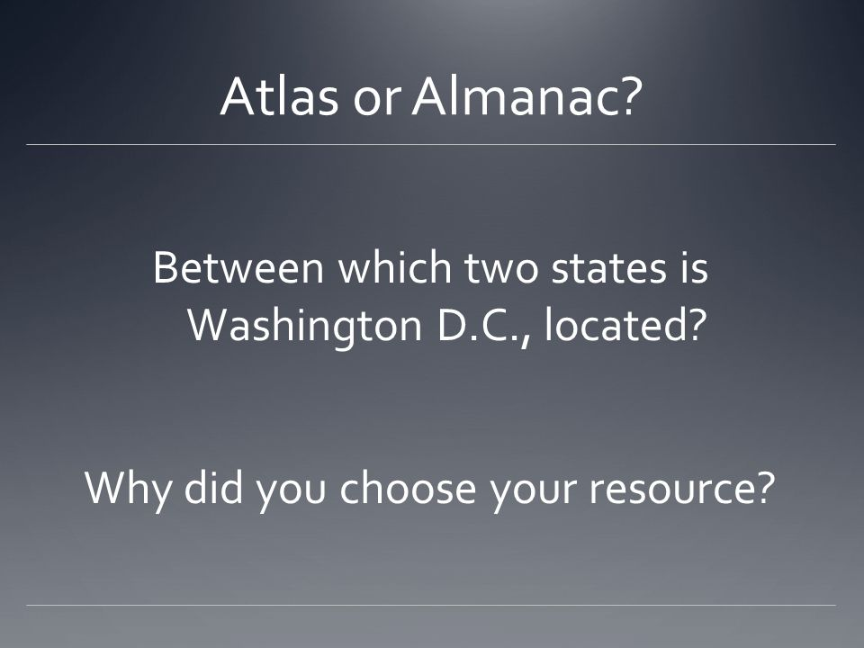 Atlas or Almanac. Between which two states is Washington D.C., located.