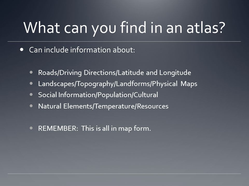 What can you find in an atlas