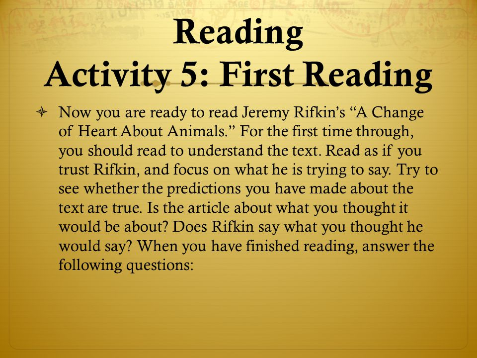 Reading Activity 5: First Reading