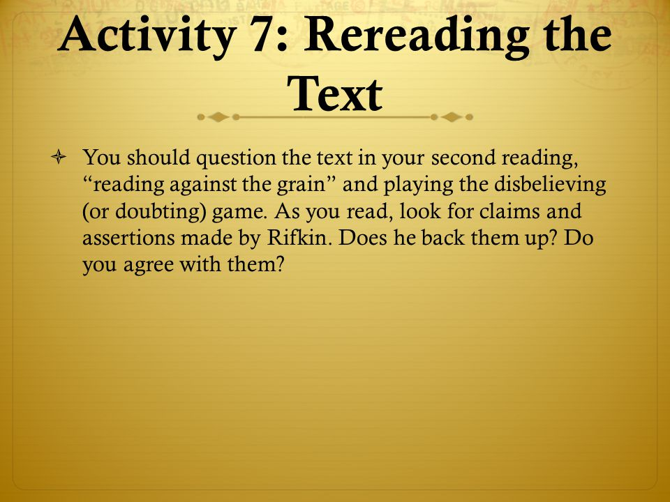 Activity 7: Rereading the Text