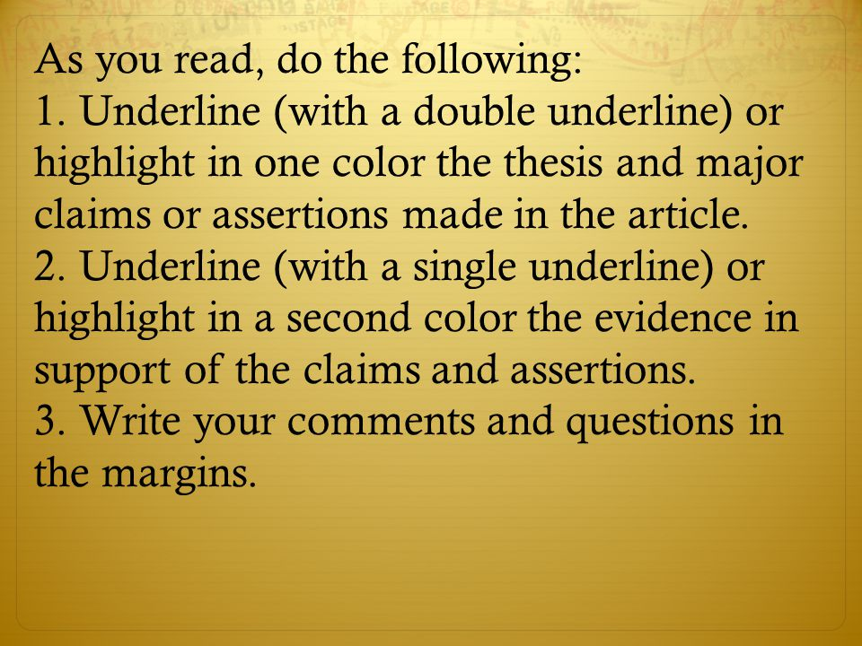 As you read, do the following: