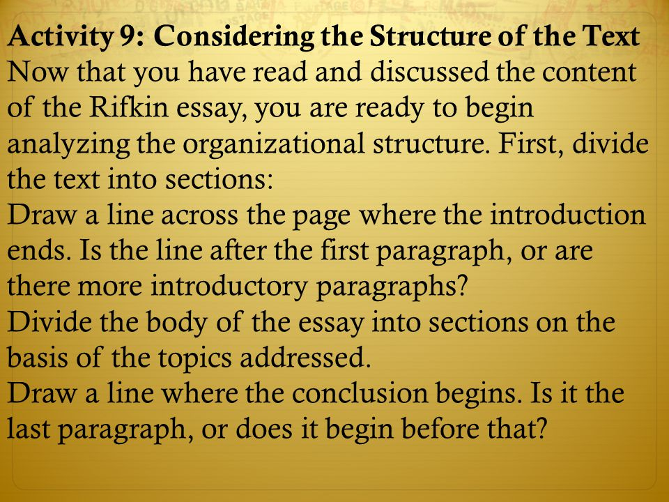 Activity 9: Considering the Structure of the Text