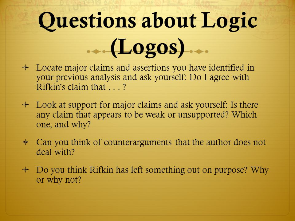 Questions about Logic (Logos)