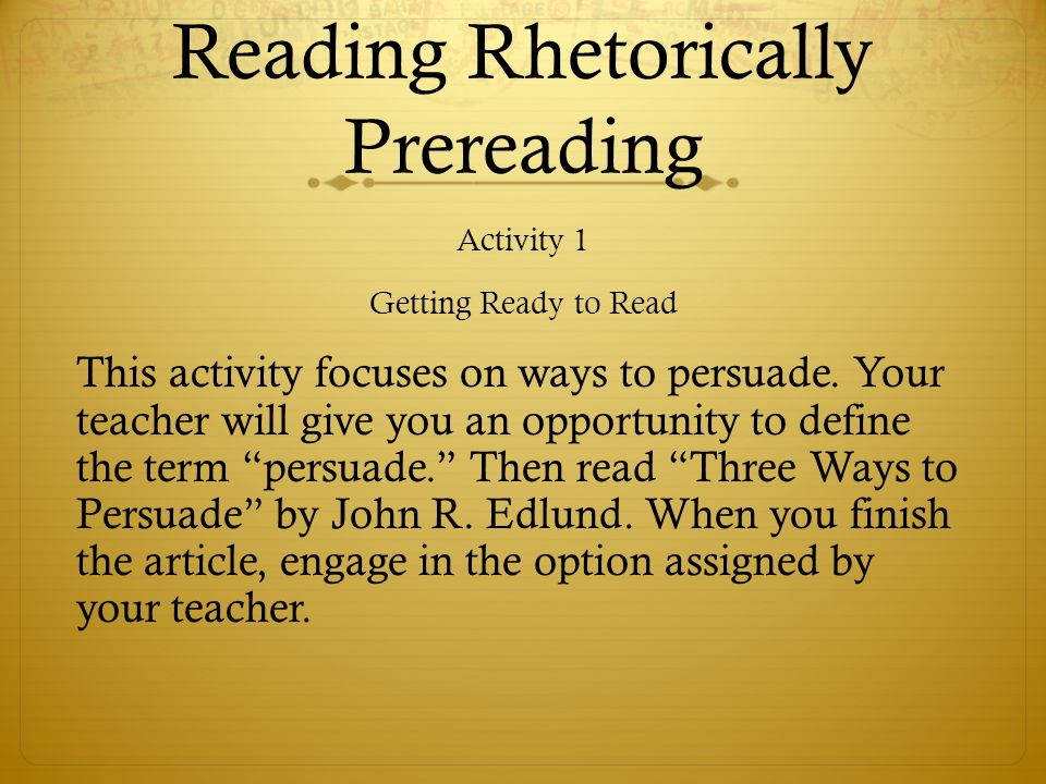 Reading Rhetorically Prereading