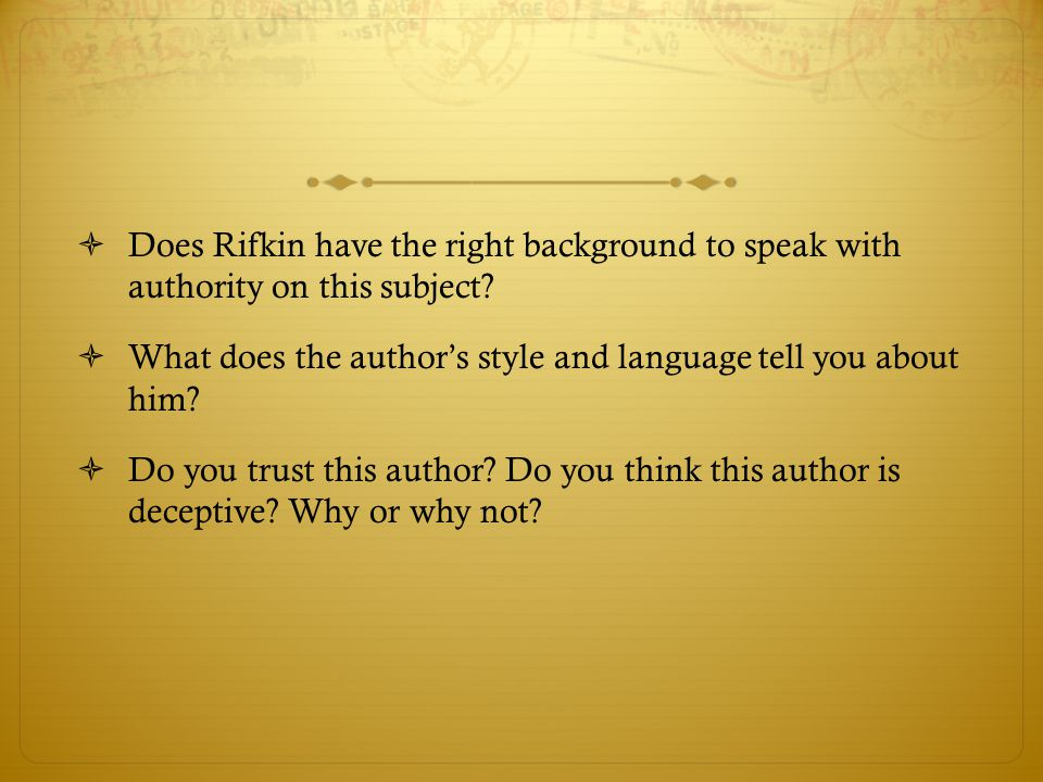 Does Rifkin have the right background to speak with authority on this subject