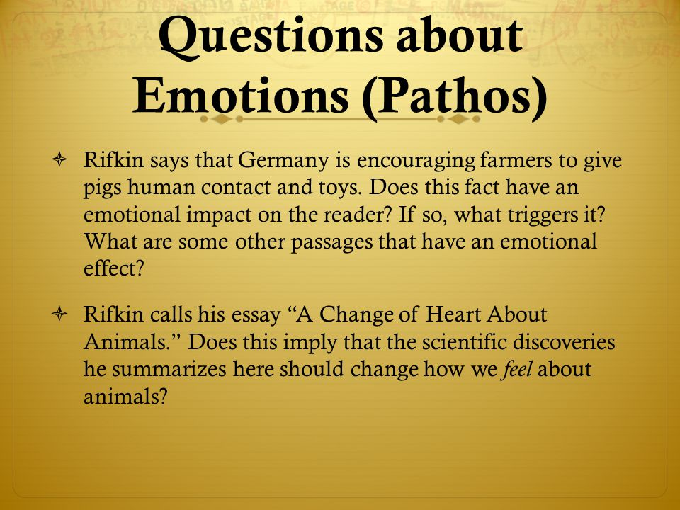 Questions about Emotions (Pathos)