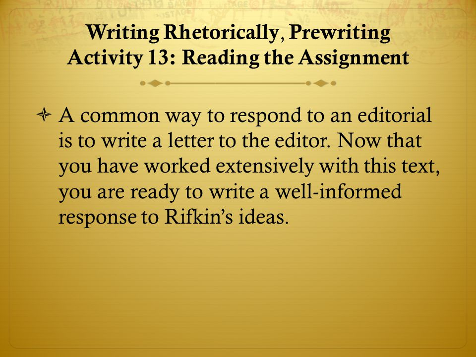Writing Rhetorically, Prewriting Activity 13: Reading the Assignment