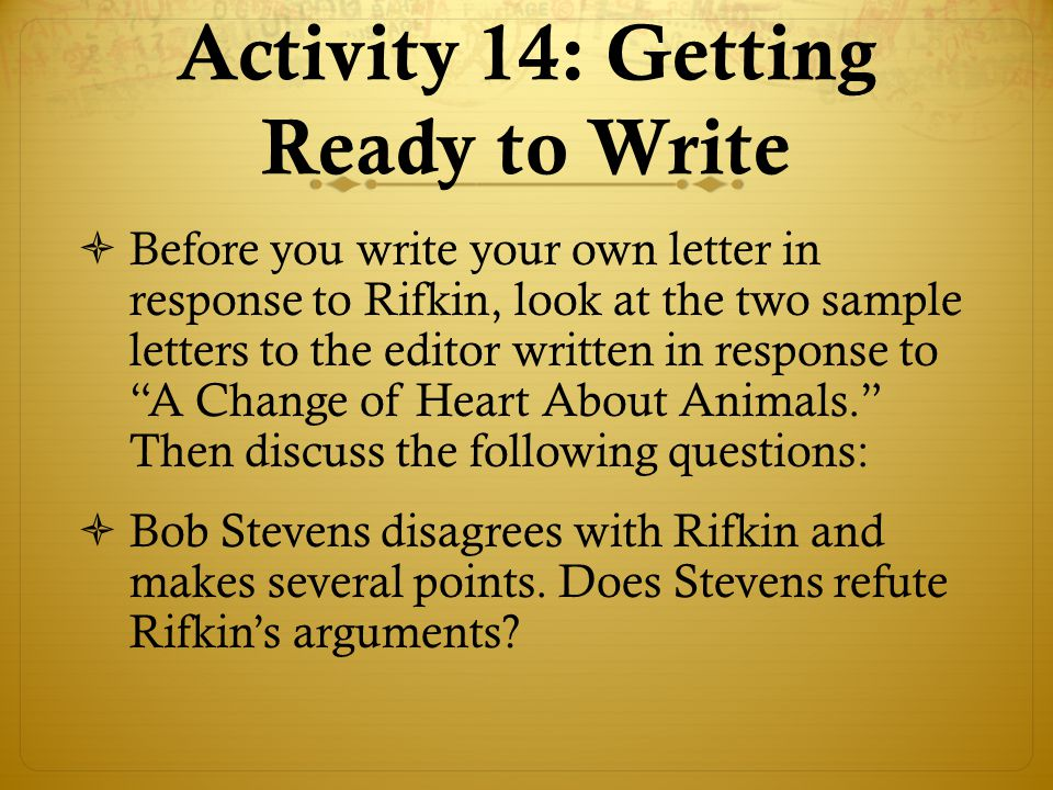 Activity 14: Getting Ready to Write