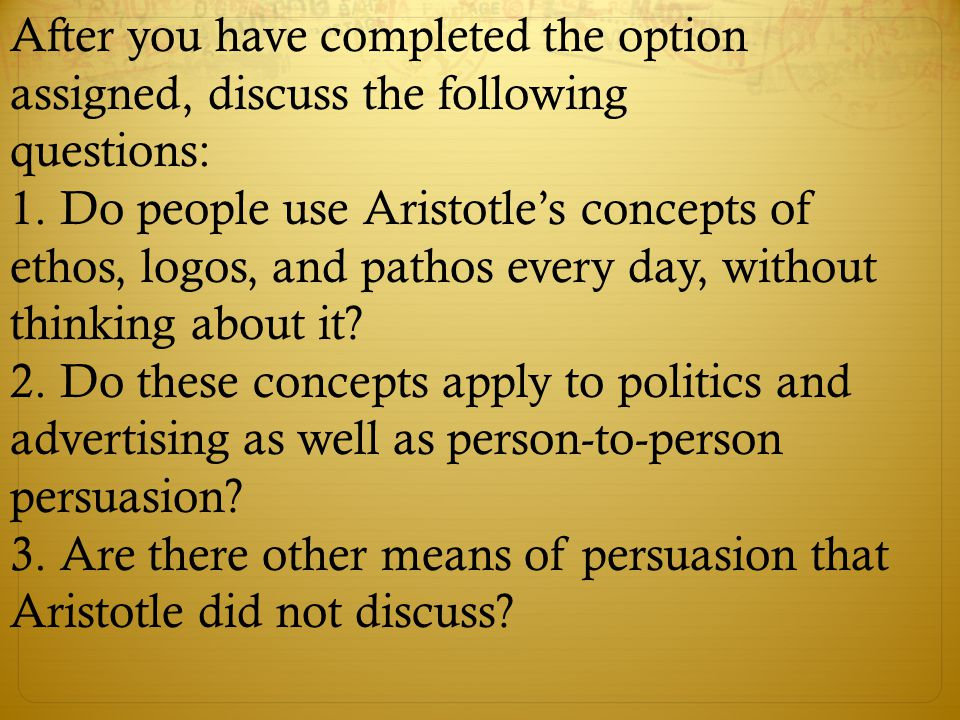 After you have completed the option assigned, discuss the following