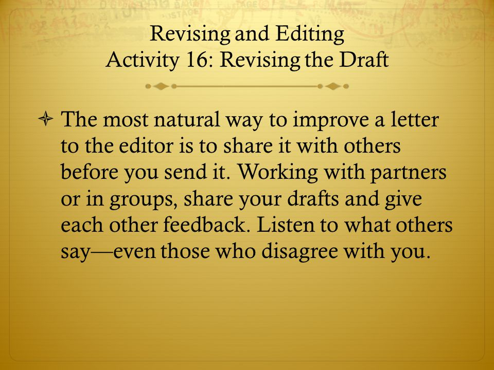 Revising and Editing Activity 16: Revising the Draft