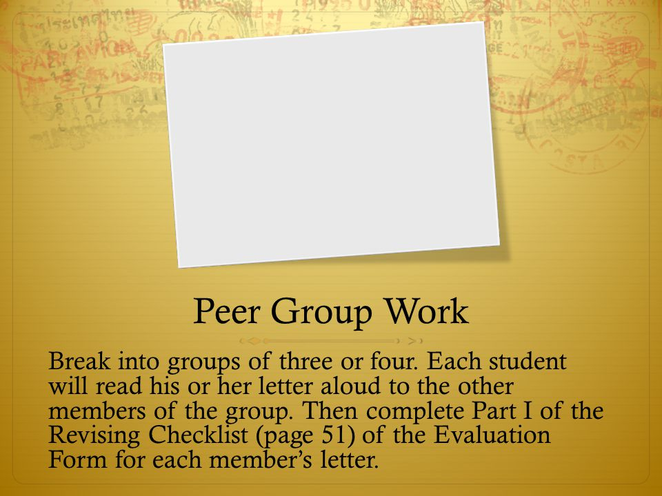 Peer Group Work