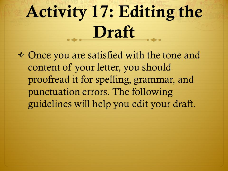 Activity 17: Editing the Draft