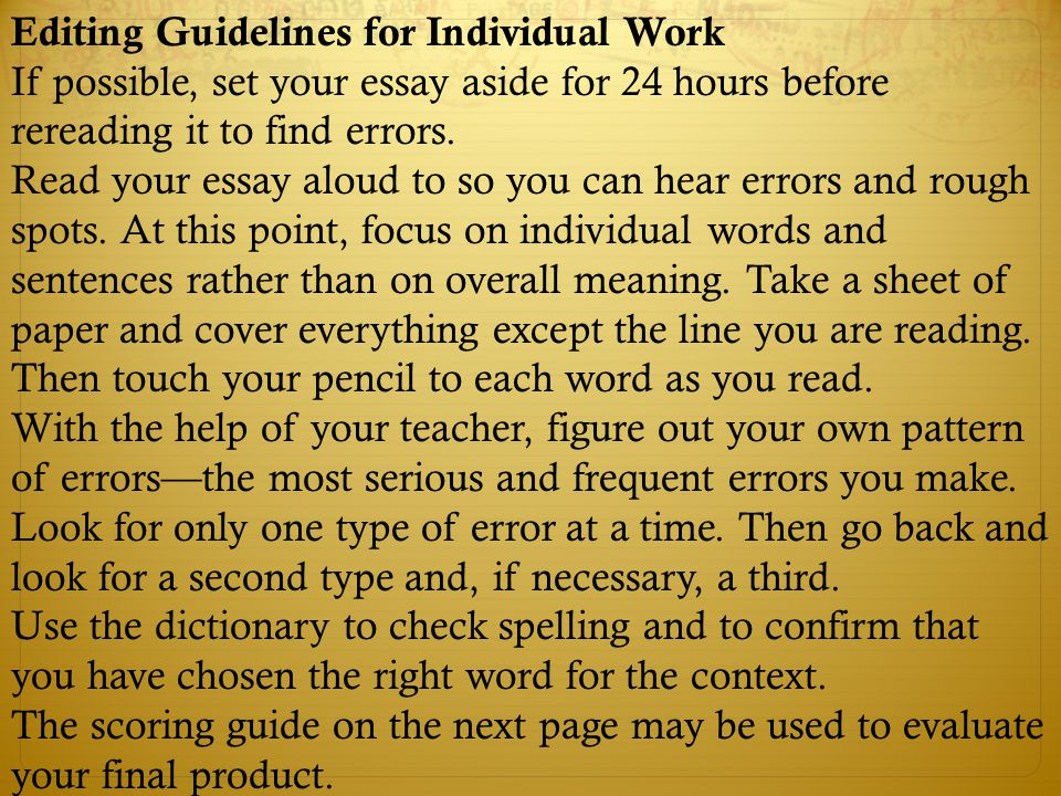 Editing Guidelines for Individual Work