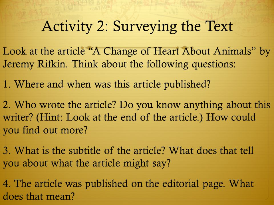 Activity 2: Surveying the Text