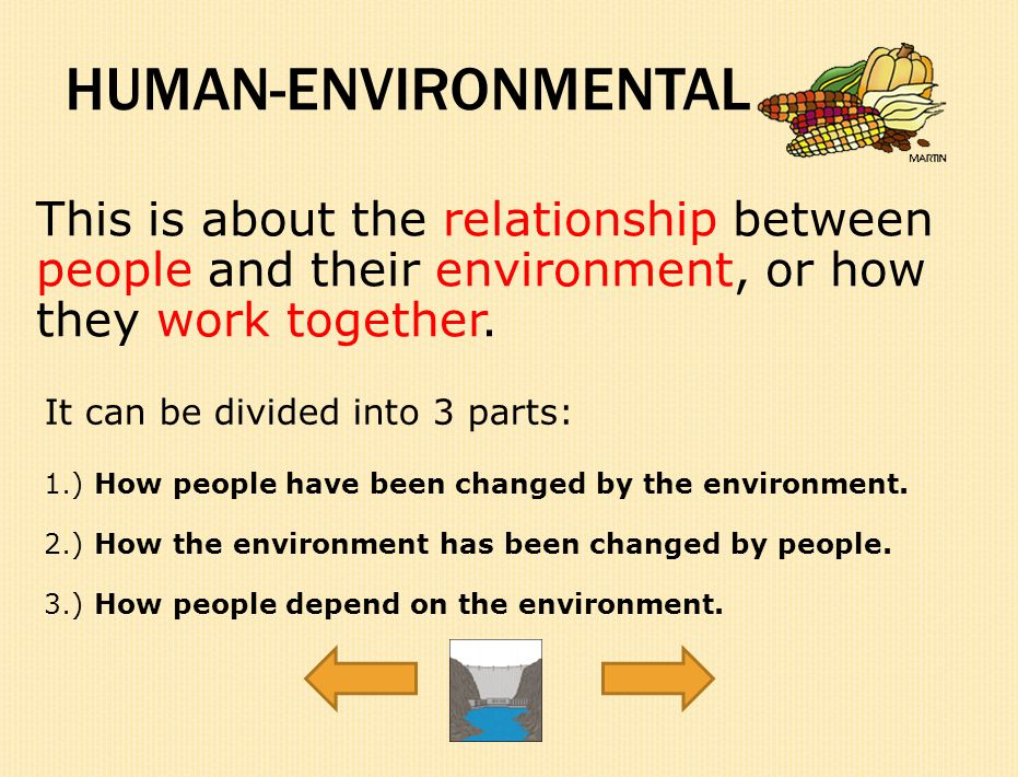 HUMAN-ENVIRONMENTAL This is about the relationship between people and their environment, or how they work together.