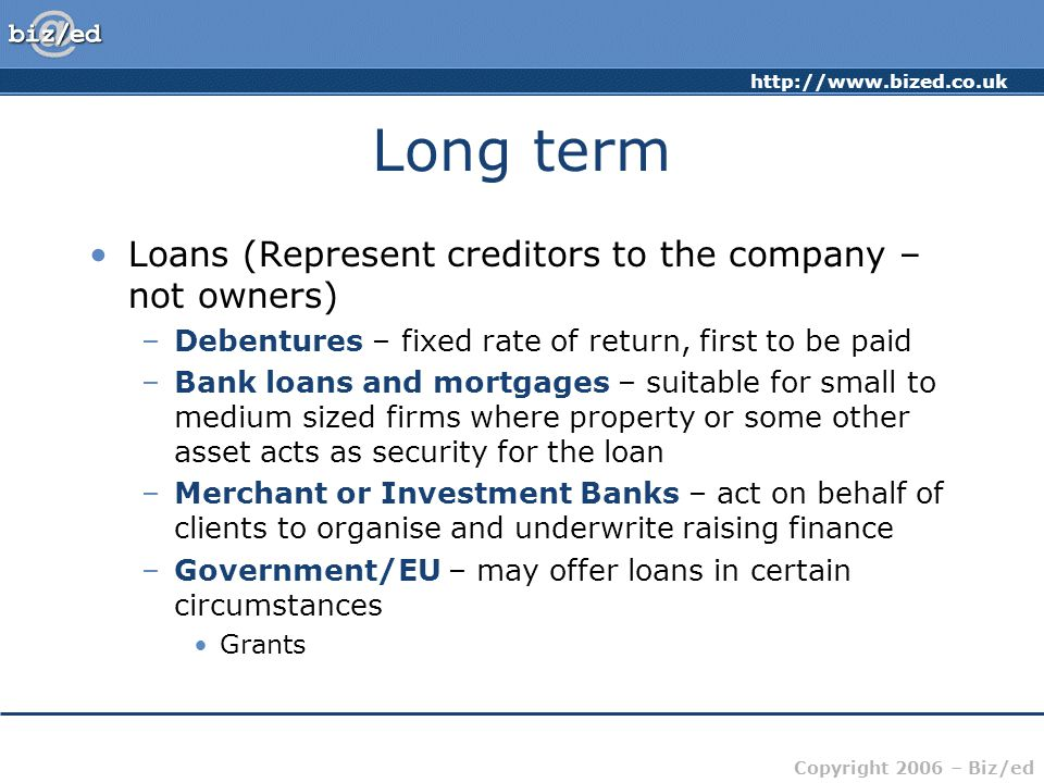 Long term Loans (Represent creditors to the company – not owners)