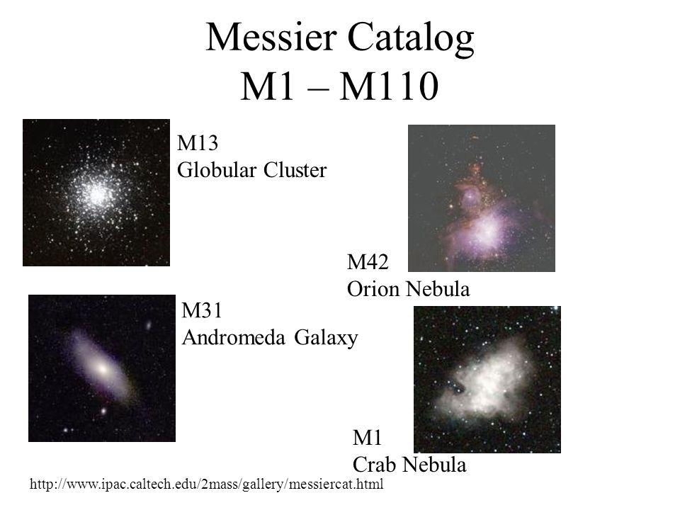 Messier Catalog M1 – M110 M13 Globular Cluster M42 Orion Nebula M31