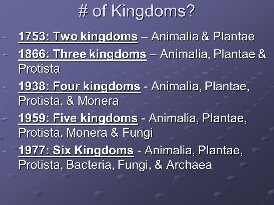 # of Kingdoms 1753: Two kingdoms – Animalia & Plantae