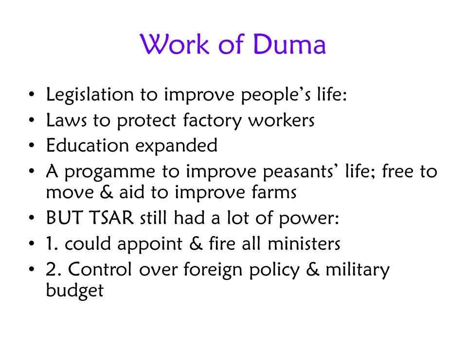Work of Duma Legislation to improve people's life: