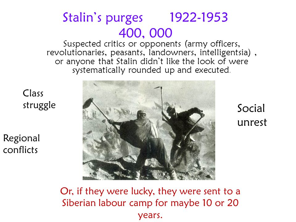 Stalin's purges 1922-1953 400, 000 Social unrest Class struggle