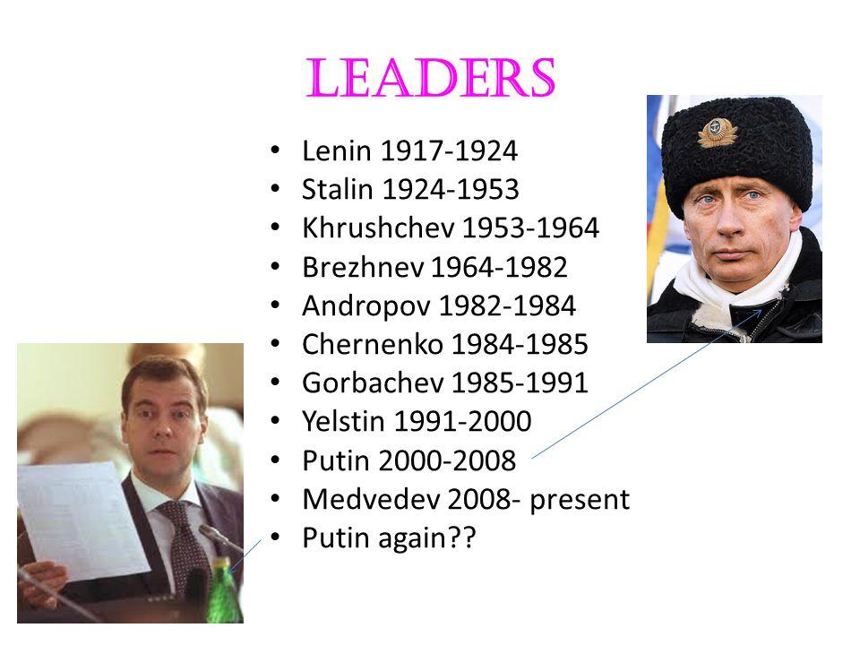 Leaders Lenin 1917-1924 Stalin 1924-1953 Khrushchev 1953-1964